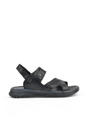 Ziya  Erkek Hakiki Deri Sandalet 111122 9013  Siyah